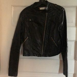 Black Soft NonLeather Jacket with great detailing